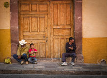 People on Doorstep, Mexico Stock Image