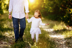 People with down sydrome walking in forest Royalty Free Stock Photo