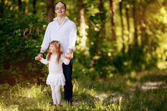 People with down sydrome walking in forest Royalty Free Stock Images