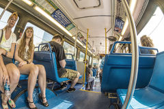 People in the downtown Metro bus in Miami, USA Royalty Free Stock Images