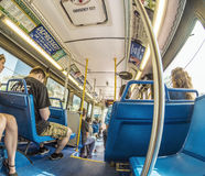 People in the downtown Metro bus in Miami, USA Royalty Free Stock Photos