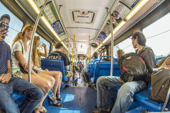 People in the downtown Metro bus in Miami, USA Stock Image