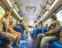 People in the downtown Metro bus in Miami, USA Stock Photos