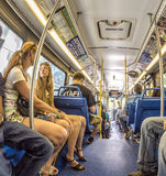 People in the downtown Metro bus in Miami, USA Royalty Free Stock Photo