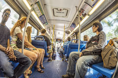 People in the downtown Metro bus in Miami, USA Stock Photography