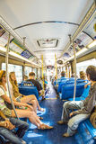 People in the downtown Metro bus in Miami, USA Royalty Free Stock Photography