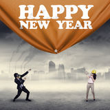 People draw the banner new year Stock Photos