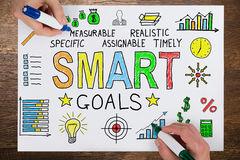 People Drawing Smart Goals Concept On Paper Stock Images