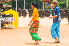 People Dress Up Beautifully. Loi Kaw Wan - Shan State ArmySSA, Burma - May 21: Unidentified People Dress Up Beautifully In A Shan State Army Day On May 21, 2017 Stock Photo