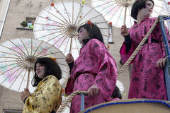 People dressed as Geisha's, Belgium Stock Photo