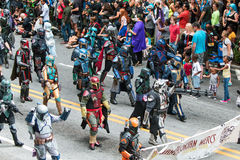 People Dressed As Mandalorian Mercs Walk In Dragon Con Parade Royalty Free Stock Images