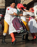 People dressed in Czech traditional garb dancing and singing. Royalty Free Stock Image