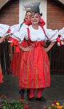 People dressed in Czech traditional garb dancing and singing. Stock Photography