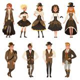 People dressed in historic brown clothes, man and woman wearing fantasy costume set vector Illustrations isolated on a. White background Royalty Free Stock Photos