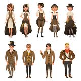 People dressed in historic clothes, man and woman wearing brown fantasy costume set vector Illustrations on a white. People dressed in historic clothes, man and Stock Photo