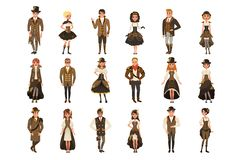 People dressed in historic clothes, man and woman wearing brown fantasy costume set vector Illustrations on a white Royalty Free Stock Photo