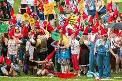 People Dressed Like Gnomes Attempt To Break World Record. Atlanta, GA, USA - April 29, 2017:  A huge group of people dressed like gnomes gather at Inman Park to Stock Images