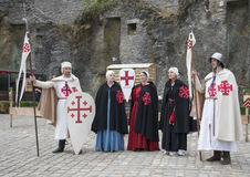 People dressed in medieval clothes in Bouillon. As knight and proncess on the aunual medieval games Stock Photo