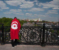 People dressed in national flag of Tunis Royalty Free Stock Photo
