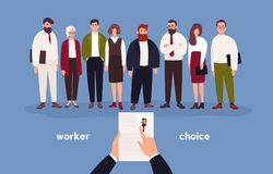 People dressed in office clothing standing in row in front of person with CV in hands. Concept of choice of worker Stock Photo