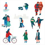 People Dressed in Seasonal Clothes Walking on Street Set, Men, Women and Kids Performing Spring Season Outdoor. Activities Vector Illustration on White vector illustration