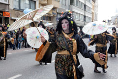 People dressed up in costume, carnival, Ostend Royalty Free Stock Images