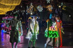 People dressed up with LED lighted costumes, Duryu Park Starry Night Illuminations night in Daegu South Korea Stock Image