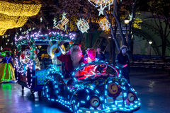 People dressed up with LED lighted costumes, Duryu Park Starry Night Illuminations night in Daegu South Korea Royalty Free Stock Photography