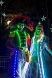 People dressed up with LED lighted costumes, Duryu Park Starry Night Illuminations night in Daegu South Korea Stock Photo