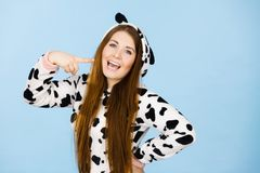 Happy crazy woman in cow costume Stock Image
