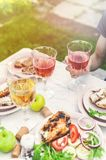 People drink rose and white wine. Dinner with grilled fish, vegetables and salads. Dinner in the backyard. Vertical shot