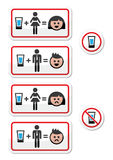 People drinking alcohol - sad and happy face icons set. Vector labels set - man and woman drinking shots, do not drink sign Royalty Free Stock Images