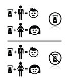 People drinking alcohol - sad and happy face icons set Royalty Free Stock Image