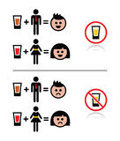 People drinking alcohol - sad and happy face icons set Royalty Free Stock Photo