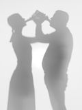 People drinking beer, silhouettes Royalty Free Stock Photos