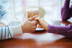 People Drinking Coffee. Closeup Hands with Cups. stock image