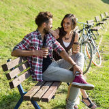 People drinking coffee in park Royalty Free Stock Photography