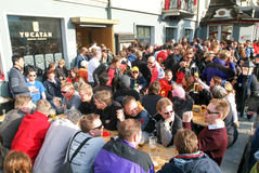 People drinking on a restaurant after skiing at Engelberg Royalty Free Stock Photo