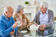 People drinking tea in senior center. Group of elderly women and men having teatime at table in cozy room of assisted living home Stock Image