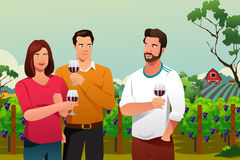 People Drinking Wine at Winery. A vector illustration of People Drinking Wine at Winery Stock Image