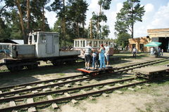 People drive the trolley. At the area of the Museum of Locomotives in Pereslavl, Russia Stock Photos
