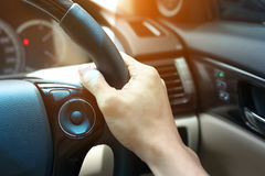 People drive vehicle car road trip travel, hand driver Stock Photography