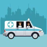 People driving ambulance cityscape Royalty Free Stock Photo