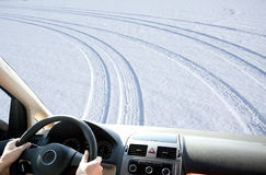 People driving in snow season Stock Photos