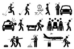 People dropping, forgetting, misplaced and losing their phone and belongings. Stick figure pictogram icons illustrate careless man lose his phone, bag, wallet Stock Photos