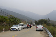 People drove to the outskirts to play, amoy city, china. During the spring festival, people come to the outskirts beichen hill ( beichenshan ) scenic area to stock photos