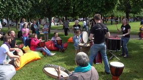 People drumming on International Jazz Festival Usadba Jazz. MOSCOW - JUNE 4: People drumming on International Jazz Festival Usadba Jazz in Archangelskoye Museum stock footage