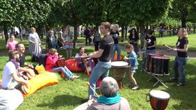 People drumming on International Jazz Festival Usadba Jazz. MOSCOW - JUNE 4: People drumming on International Jazz Festival Usadba Jazz in Archangelskoye Museum stock video
