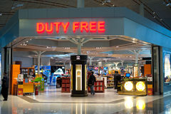 People at duty free shop at Beijing airport Royalty Free Stock Photography