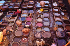 People dying hides at colorful tannery Royalty Free Stock Photos